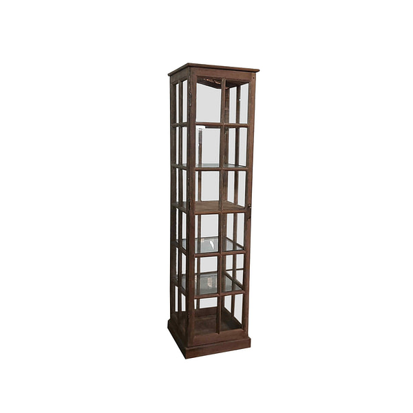 A unique showcase cabinet for display  of presious items in vintage teak and with glass shelves. Size 50*50*200 cm