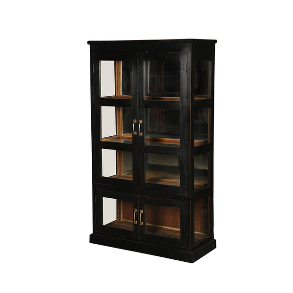 Vintage cabinet in teak pained in black outside and raw finish inside. Glass doors and glass on sides. Size 84*39*149
