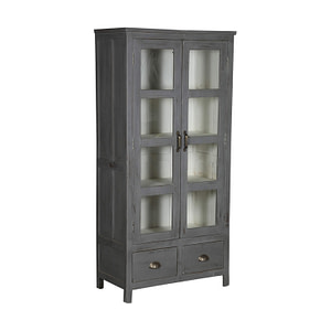A grey cabinet in vintage teak with glass doors and 2 drawers. Size 77*40*160 cm
