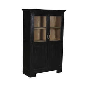 Vintage teak cabinet in black and glass and covered doors