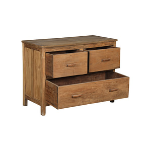 Drawer chest with 3 drawers in vintage teak. Size 102*47*77 cm