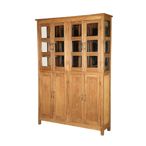 Big cabinet with 4 pairs of double doors. Perfect for the big area. The cabinet is in vintage teak and the size is 153*40*216