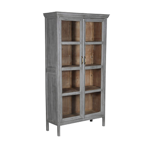 Vintage teak cabinet with grey outside and natural brown inside. Glass doors and brass handle. Size 99*38*181