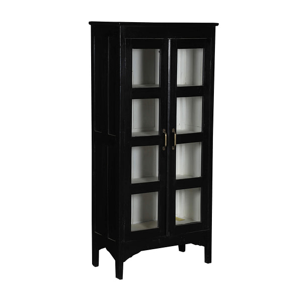 Black vintage cabient in teak with glass doors and brass handles. Size 70*37*149