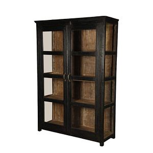 Vintage cabinet in teak pained in black outside and raw finish inside. Brass handles. Size 133*50*192