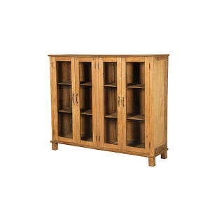 Sidebard with 2 double doors in glass in vintage teak. Size 144*40*122